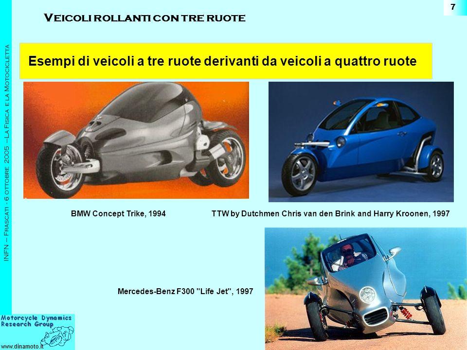 Esempi di veicoli a tre ruote derivanti da veicoli a quattro ruote