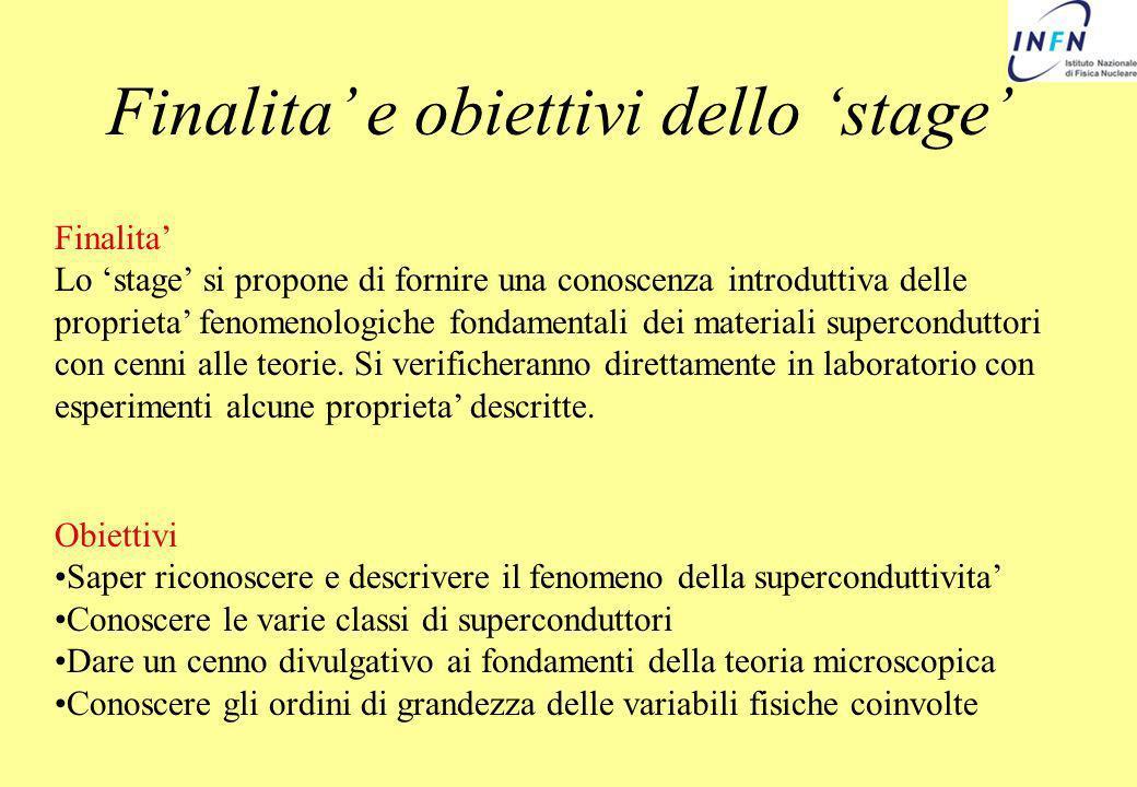 Finalita' e obiettivi dello 'stage'