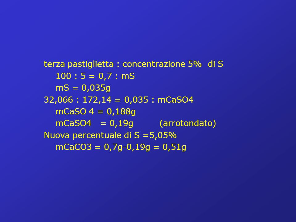 terza pastiglietta : concentrazione 5% di S