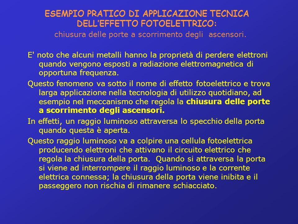 ESEMPIO PRATICO DI APPLICAZIONE TECNICA DELL'EFFETTO FOTOELETTRICO: