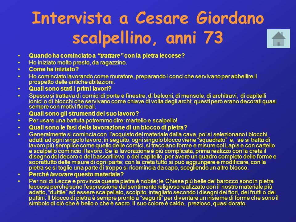 Intervista a Cesare Giordano scalpellino, anni 73