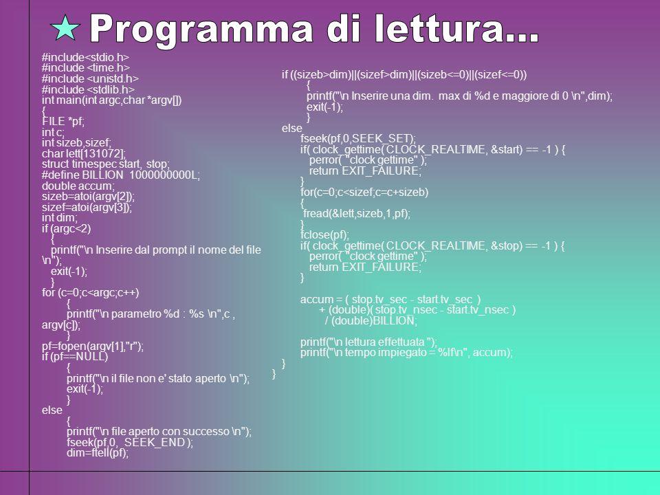 Programma di lettura... #include<stdio.h>