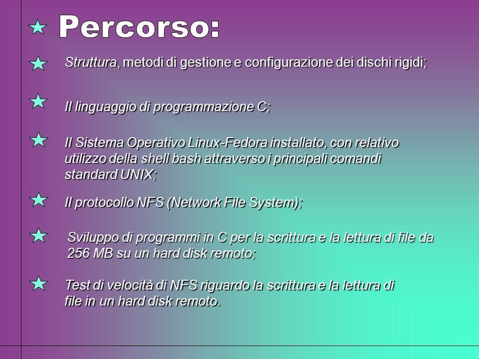 Percorso: Struttura, metodi di gestione e configurazione dei dischi rigidi; Il linguaggio di programmazione C;