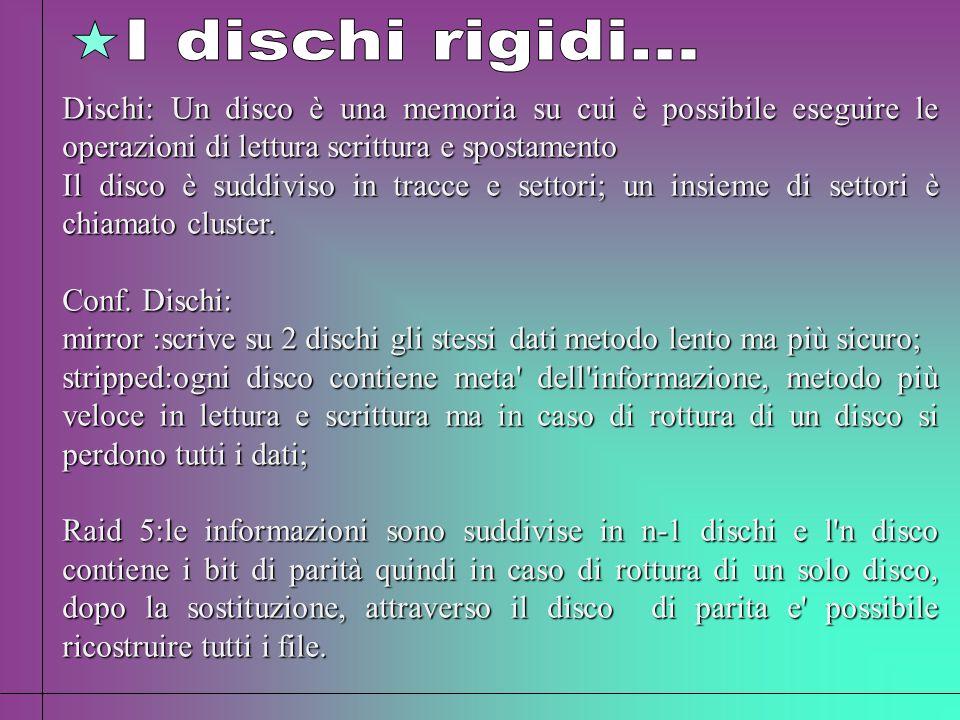 I dischi rigidi... Dischi: Un disco è una memoria su cui è possibile eseguire le operazioni di lettura scrittura e spostamento.