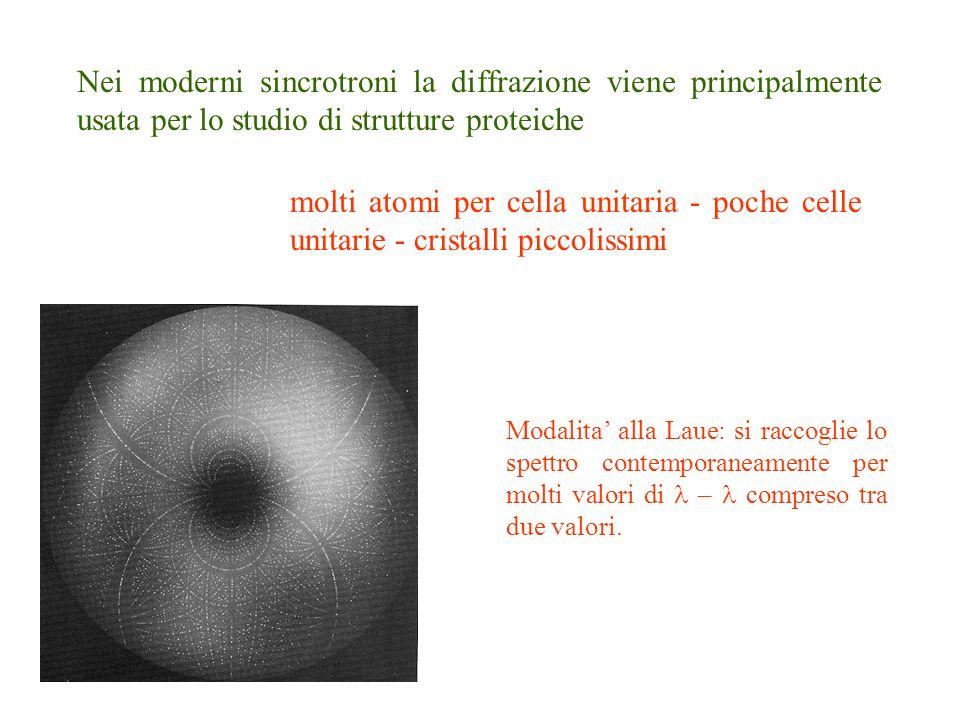 Nei moderni sincrotroni la diffrazione viene principalmente usata per lo studio di strutture proteiche