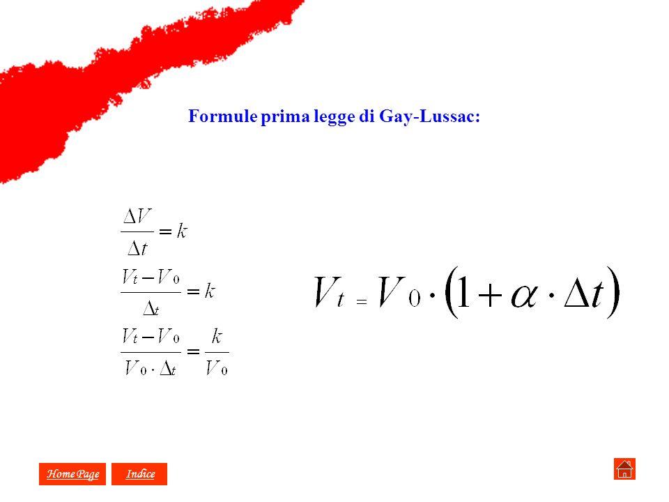 Formule prima legge di Gay-Lussac: