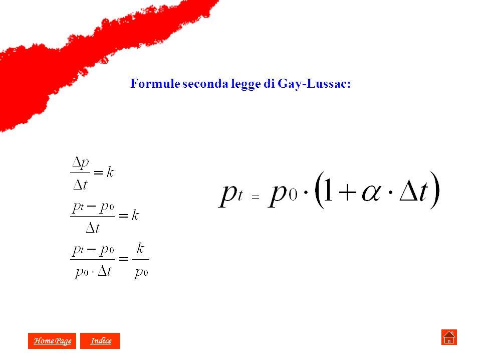 Formule seconda legge di Gay-Lussac: