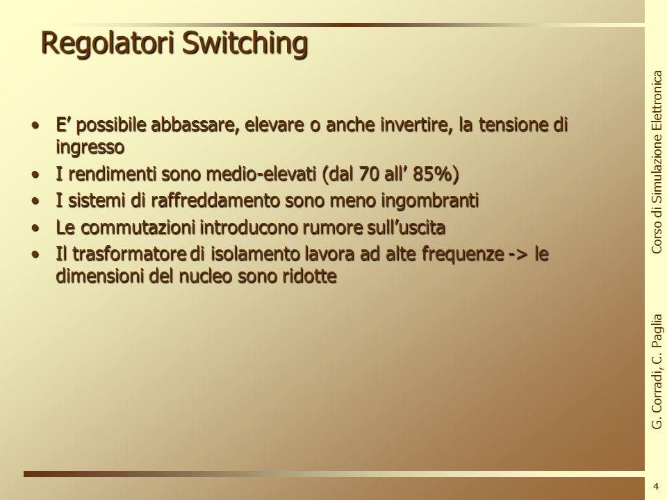 Regolatori Switching E' possibile abbassare, elevare o anche invertire, la tensione di ingresso. I rendimenti sono medio-elevati (dal 70 all' 85%)