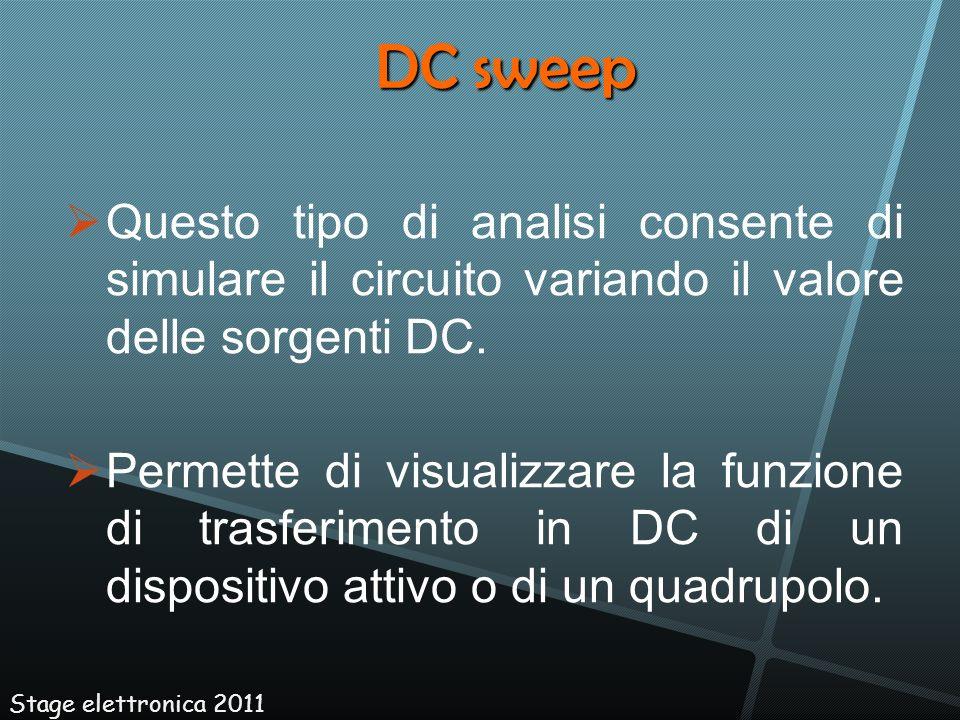 DC sweep Questo tipo di analisi consente di simulare il circuito variando il valore delle sorgenti DC.
