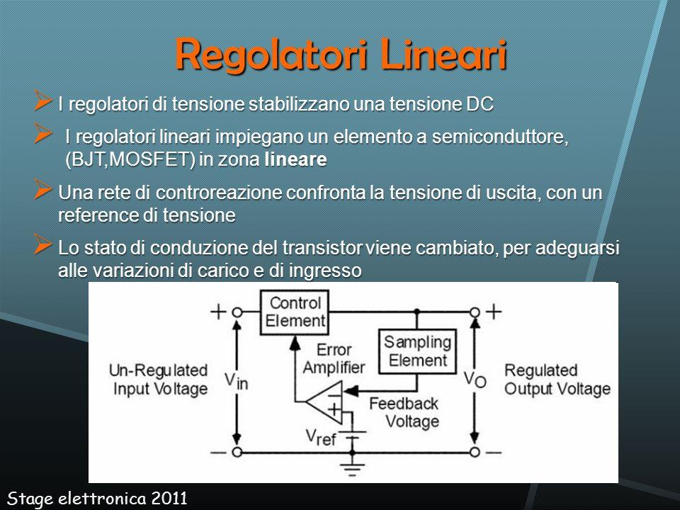Regolatori Lineari I regolatori di tensione stabilizzano una tensione DC.