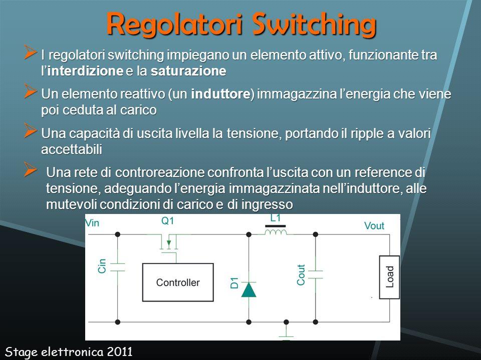 Regolatori Switching I regolatori switching impiegano un elemento attivo, funzionante tra l'interdizione e la saturazione.