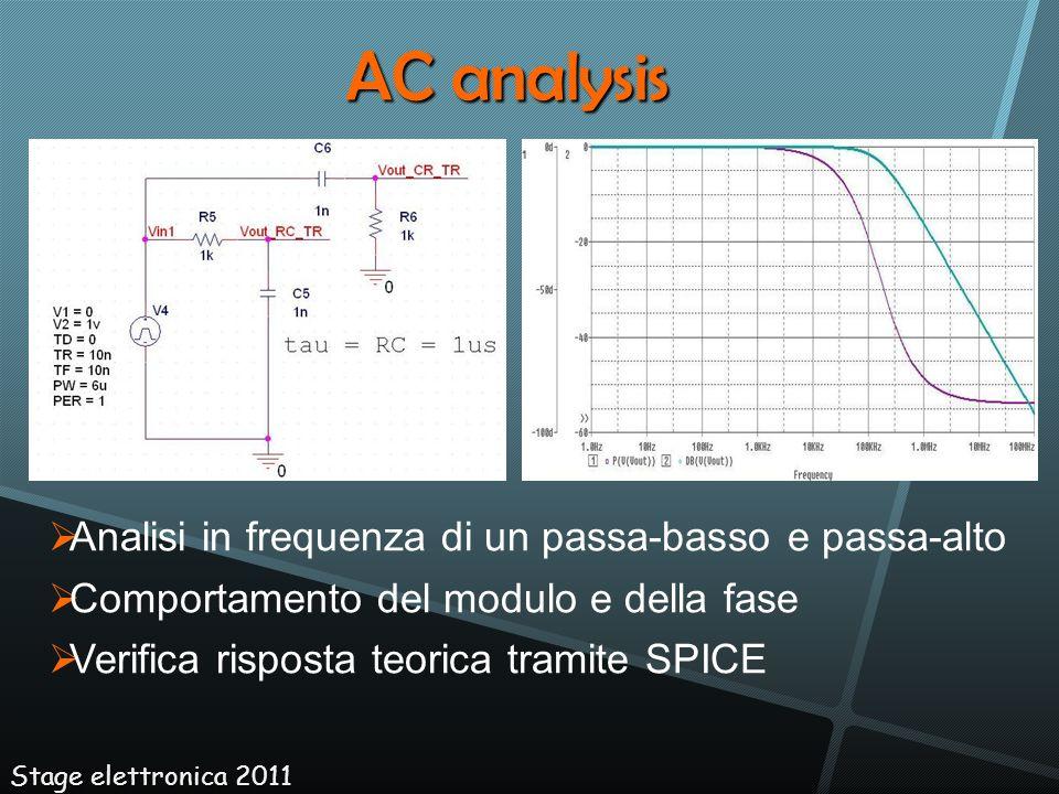 AC analysis Analisi in frequenza di un passa-basso e passa-alto