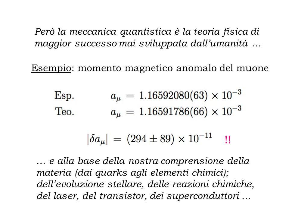 Però la meccanica quantistica è la teoria fisica di maggior successo mai sviluppata dall'umanità …
