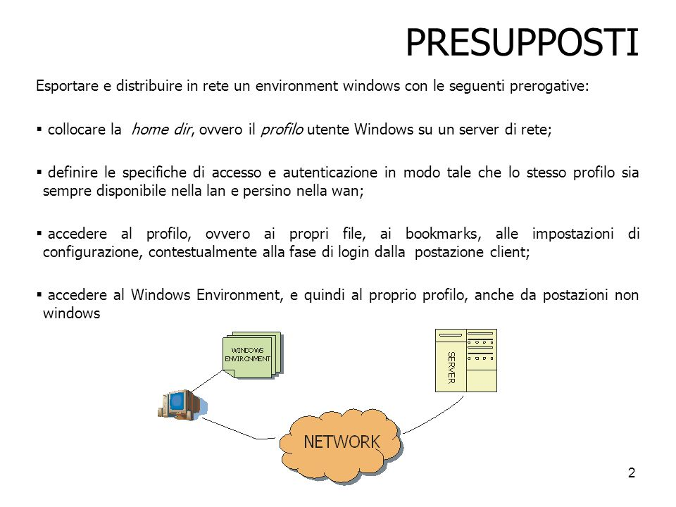 PRESUPPOSTI Esportare e distribuire in rete un environment windows con le seguenti prerogative: