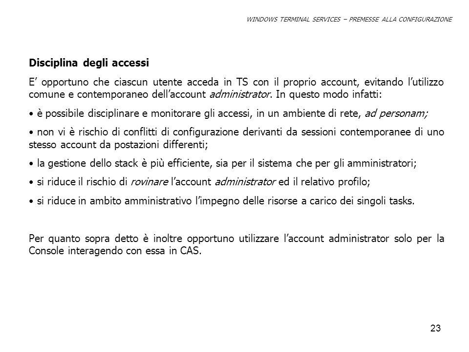 Disciplina degli accessi