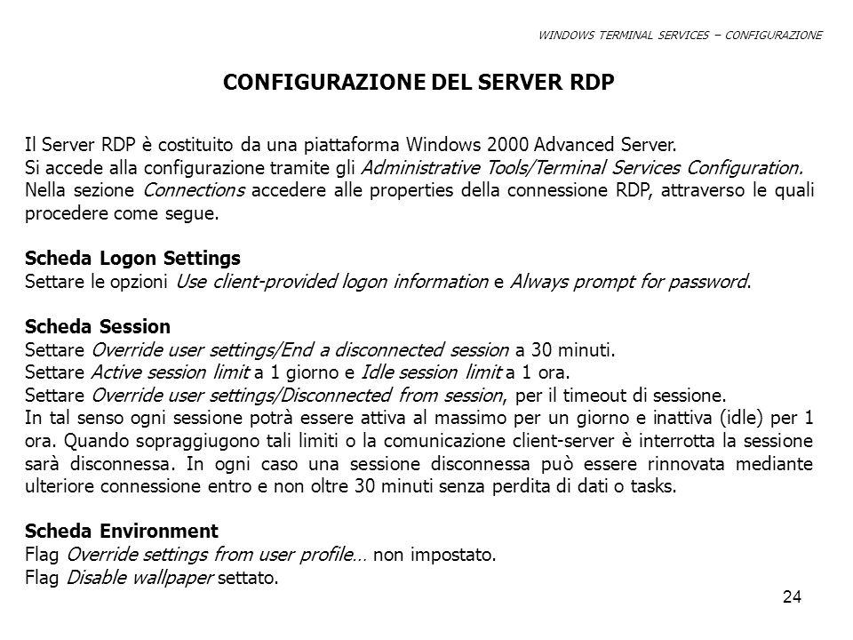 CONFIGURAZIONE DEL SERVER RDP