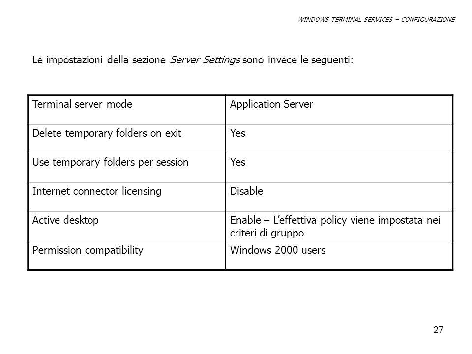 Le impostazioni della sezione Server Settings sono invece le seguenti: