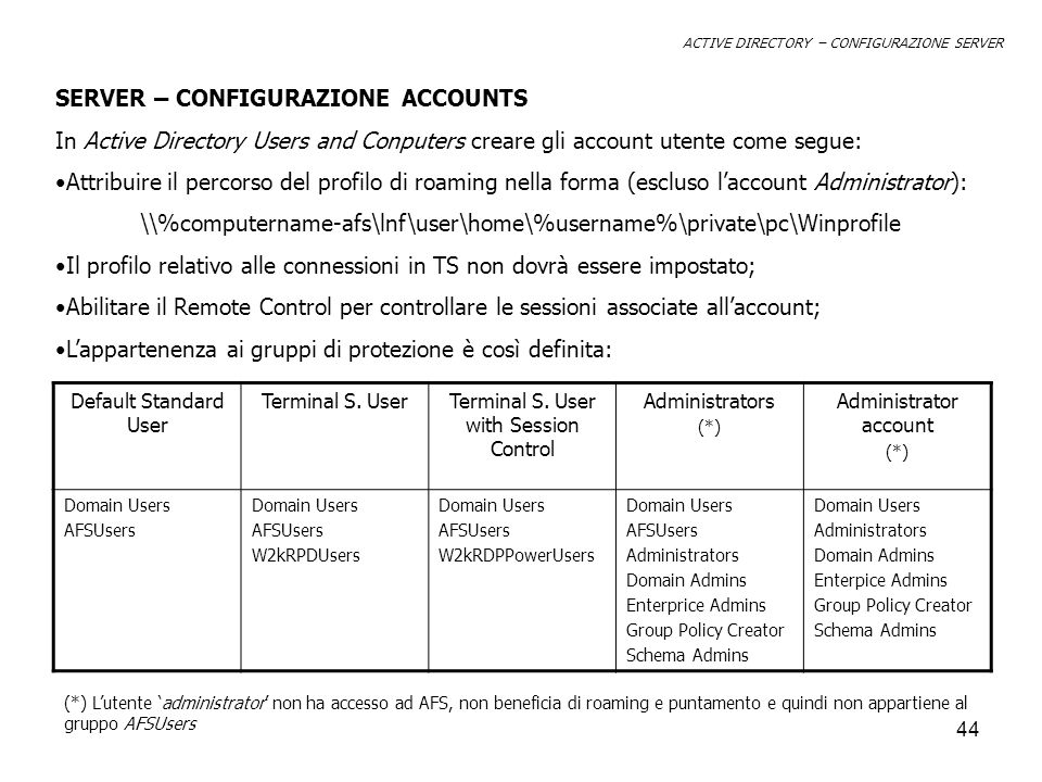 SERVER – CONFIGURAZIONE ACCOUNTS