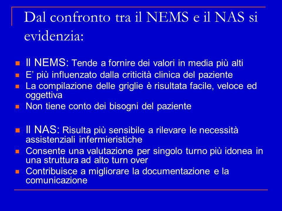 Dal confronto tra il NEMS e il NAS si evidenzia: