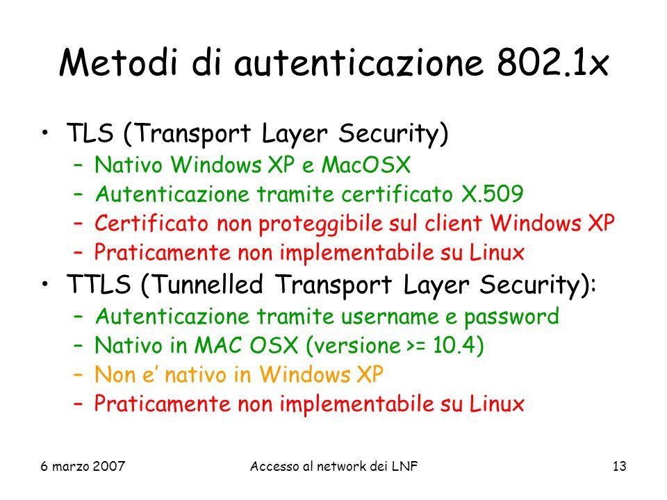 Metodi di autenticazione 802.1x