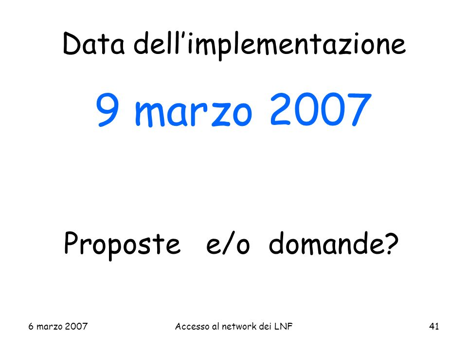 Data dell'implementazione