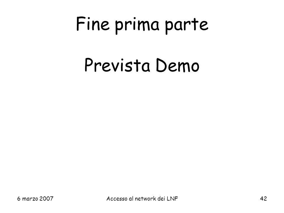 Fine prima parte Prevista Demo