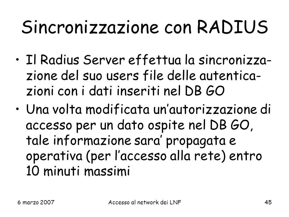 Sincronizzazione con RADIUS