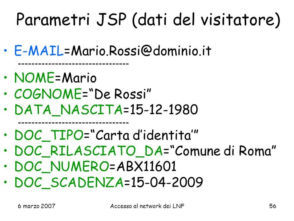 Parametri JSP (dati del visitatore)