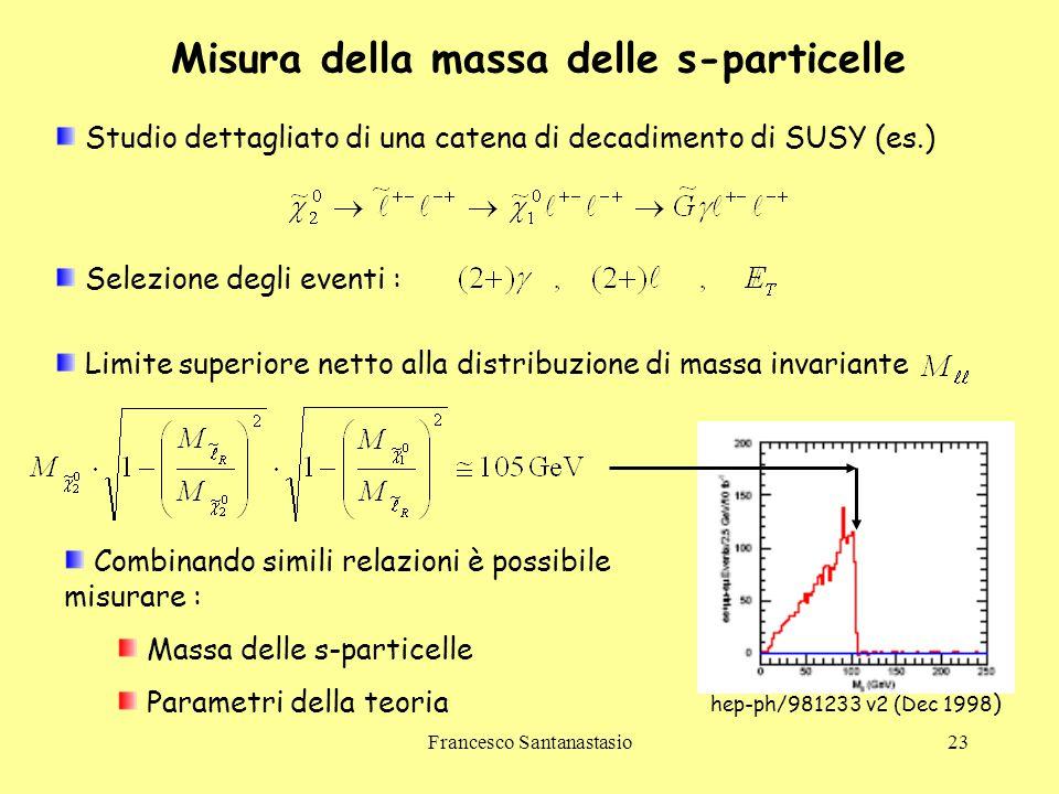 Misura della massa delle s-particelle