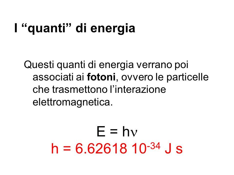 E = h h = 6.62618 10-34 J s I quanti di energia