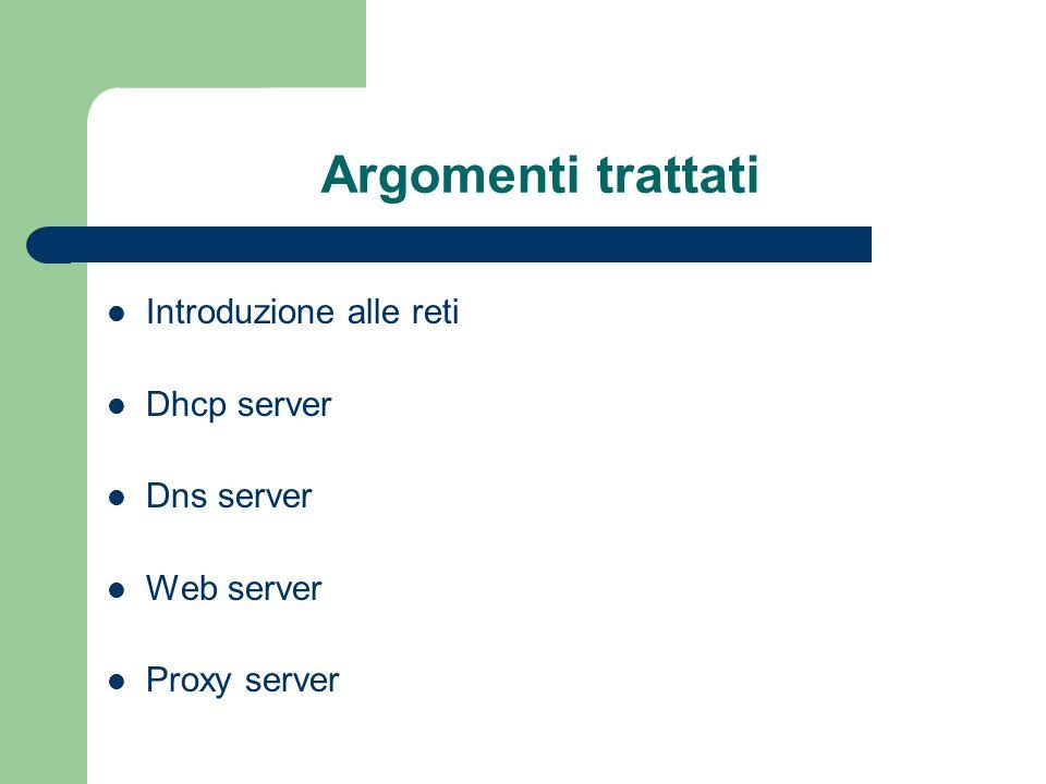 Argomenti trattati Introduzione alle reti Dhcp server Dns server