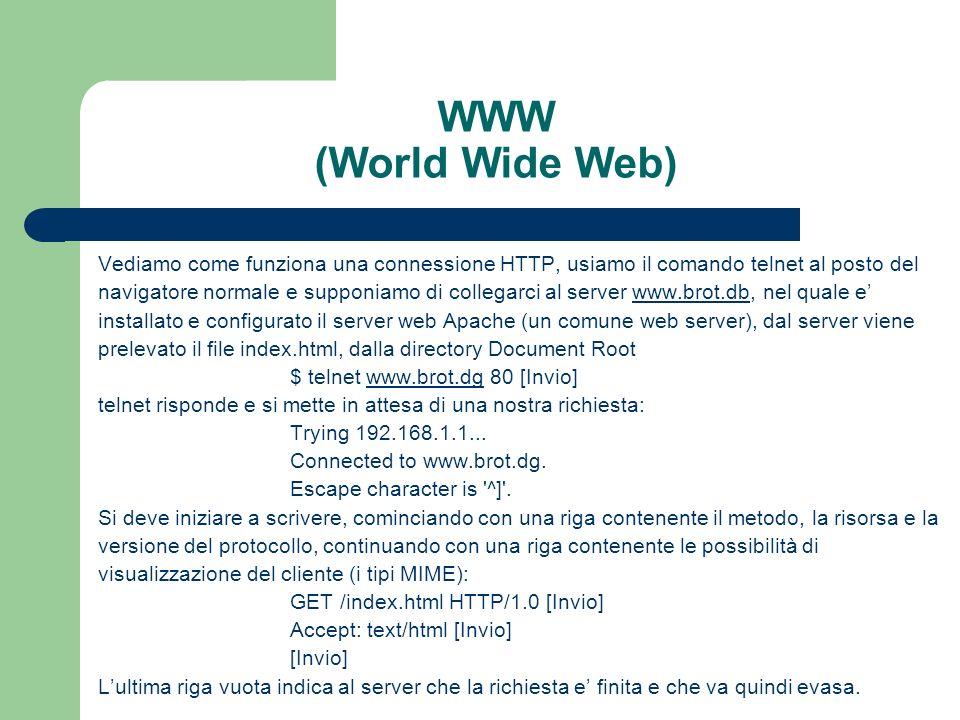 WWW (World Wide Web) Vediamo come funziona una connessione HTTP, usiamo il comando telnet al posto del.