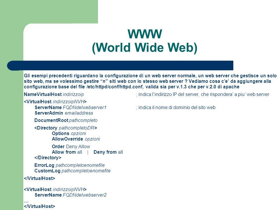 WWW (World Wide Web) Gli esempi precedenti riguardano la configurazione di un web server normale, un web server che gestisce un solo.