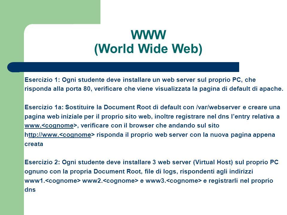 WWW (World Wide Web) Esercizio 1: Ogni studente deve installare un web server sul proprio PC, che.