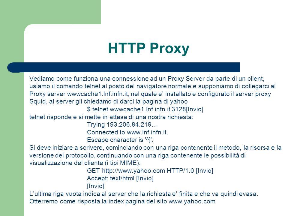 HTTP Proxy Vediamo come funziona una connessione ad un Proxy Server da parte di un client,