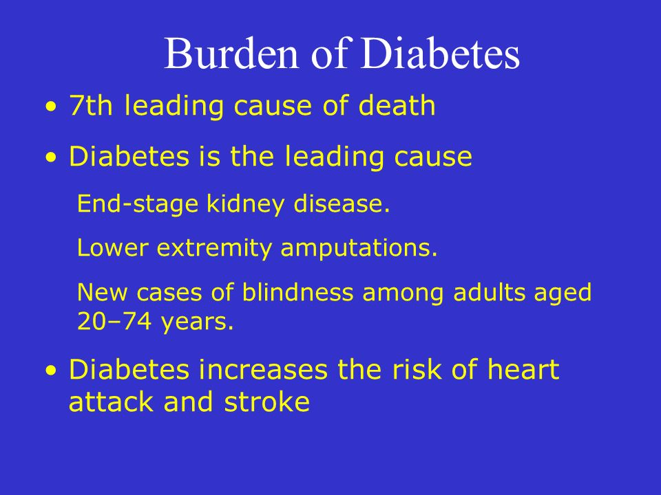 Burden of Diabetes 7th leading cause of death