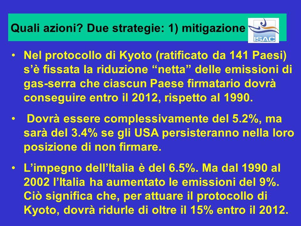 Quali azioni Due strategie: 1) mitigazione