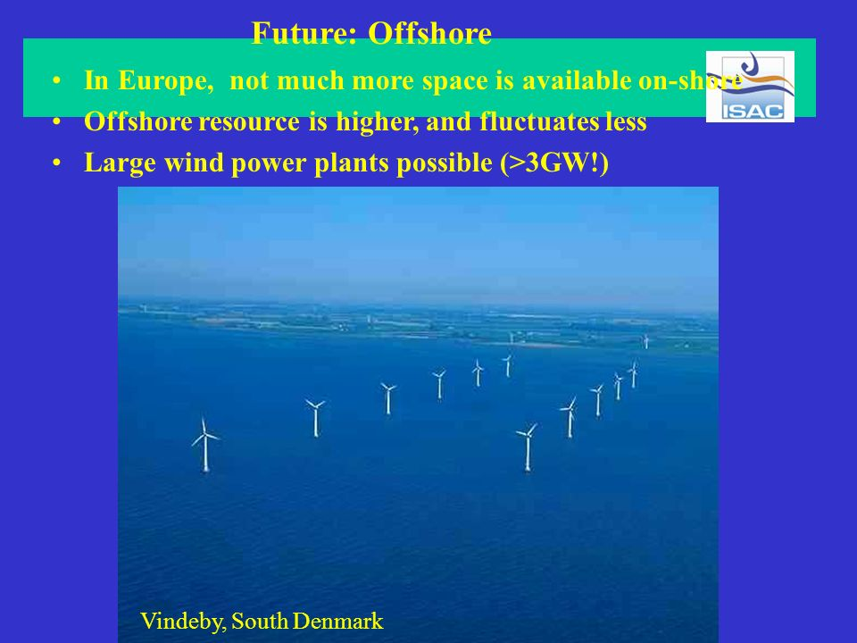 Future: Offshore In Europe, not much more space is available on-shore