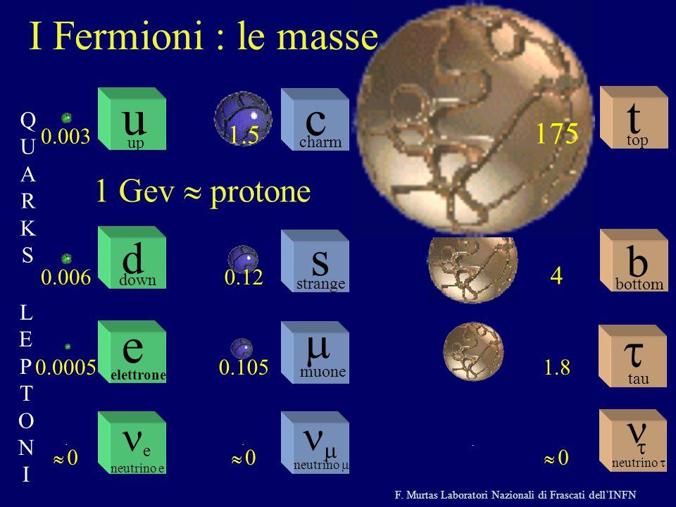 u c t s e d b m I Fermioni : le masse n ne nm 1 Gev » protone 175 1.5