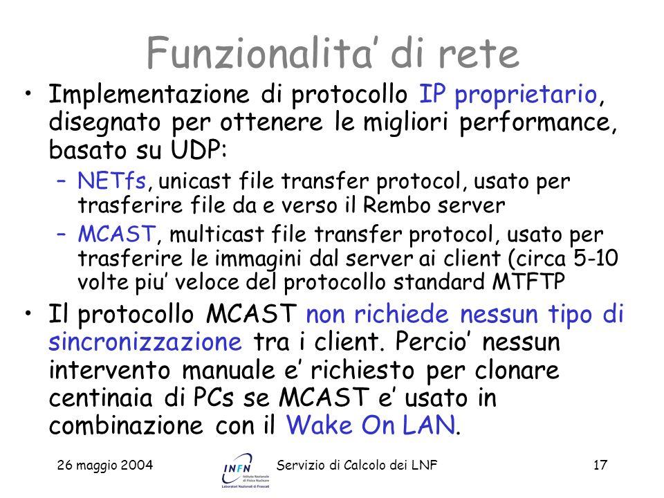 Funzionalita' di reteImplementazione di protocollo IP proprietario, disegnato per ottenere le migliori performance, basato su UDP: