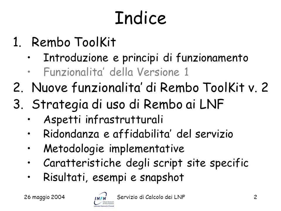 Indice Rembo ToolKit Nuove funzionalita' di Rembo ToolKit v. 2