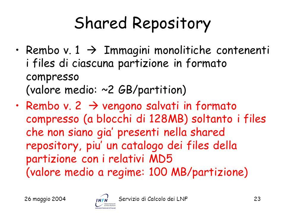 Shared RepositoryRembo v. 1  Immagini monolitiche contenenti i files di ciascuna partizione in formato compresso (valore medio: ~2 GB/partition)