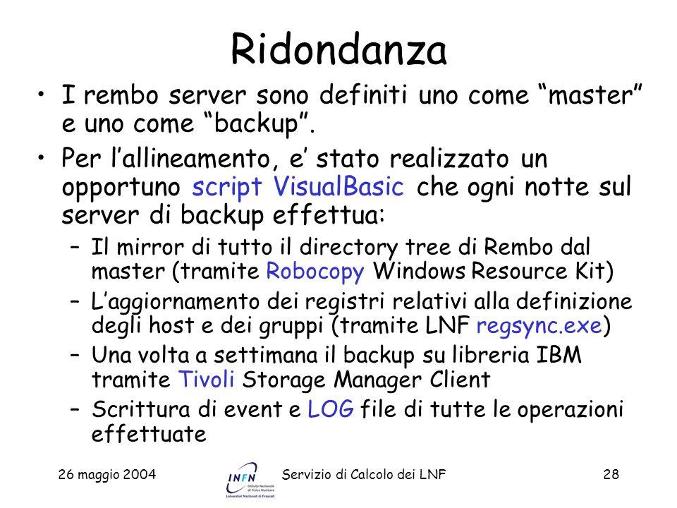 Ridondanza I rembo server sono definiti uno come master e uno come backup .