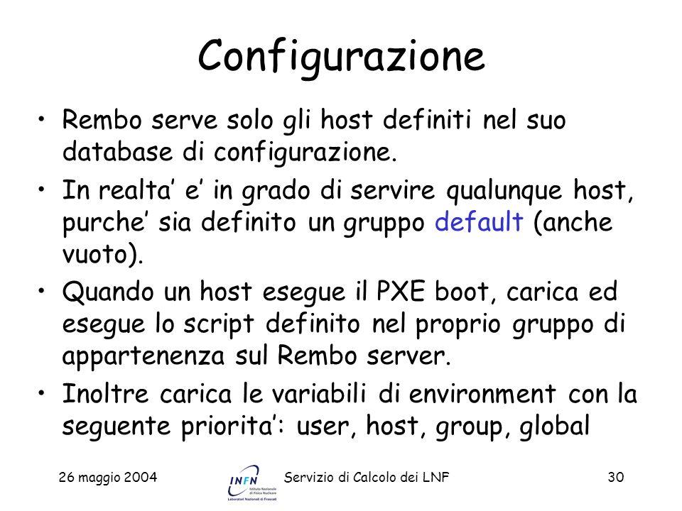 Configurazione Rembo serve solo gli host definiti nel suo database di configurazione.