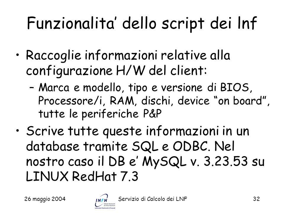 Funzionalita' dello script dei lnf