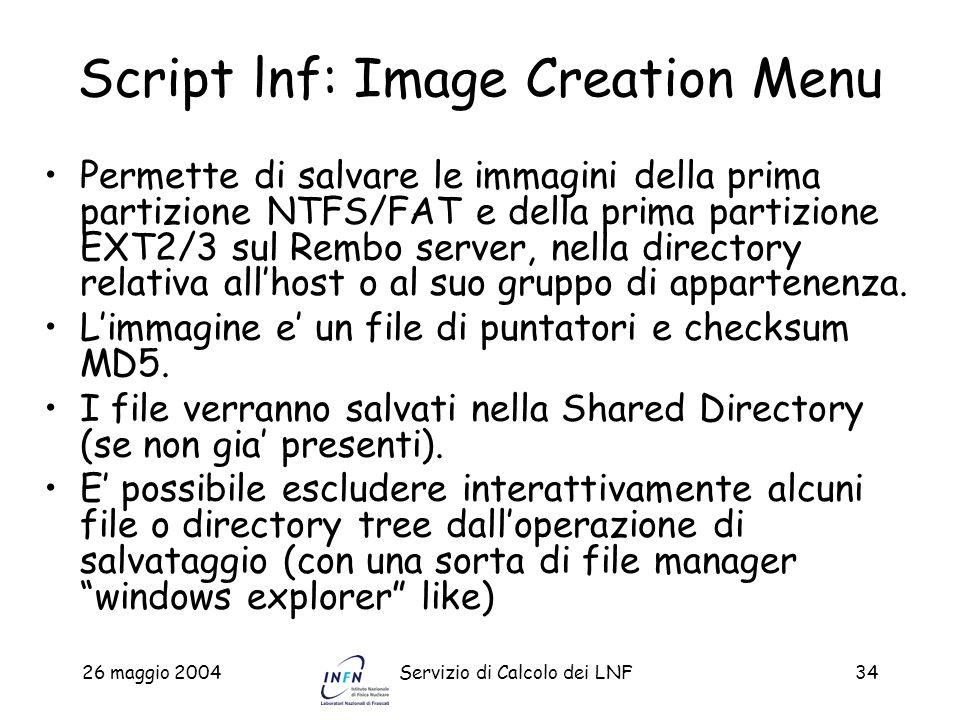 Script lnf: Image Creation Menu