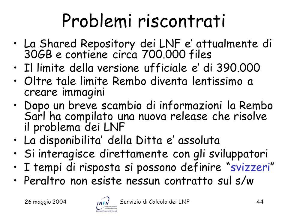 Problemi riscontrati La Shared Repository dei LNF e' attualmente di 30GB e contiene circa 700.000 files.