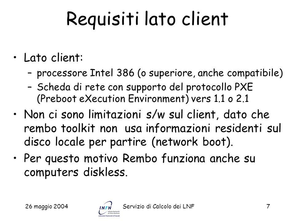 Requisiti lato client Lato client: