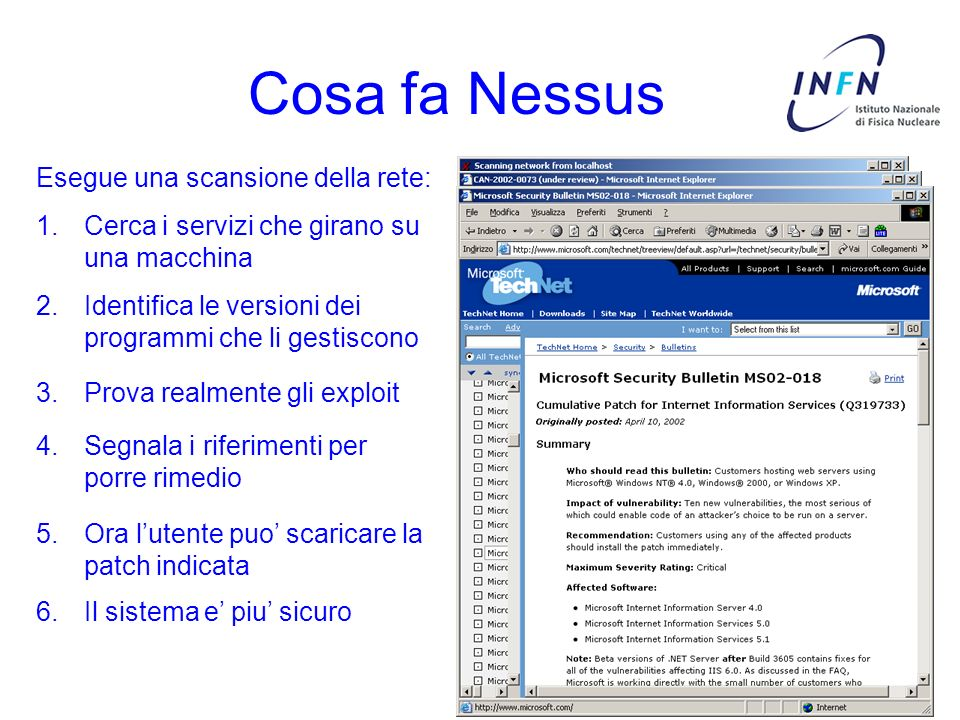 Cosa fa Nessus Esegue una scansione della rete: