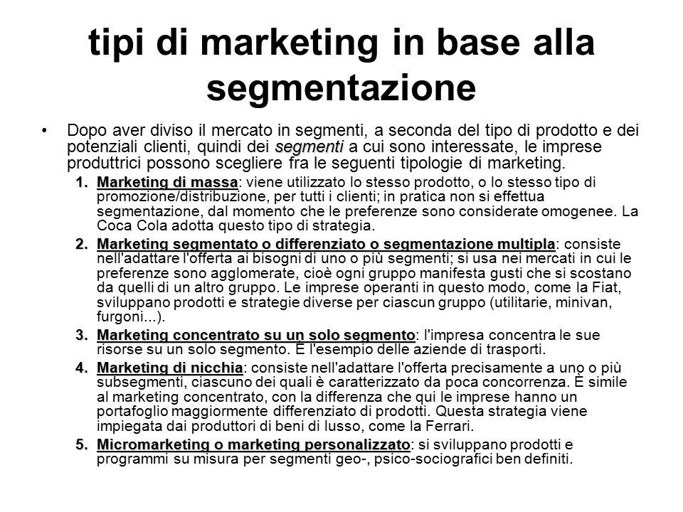 tipi di marketing in base alla segmentazione